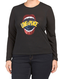 Plus Made In Usa Knit Top With Sequins Lips