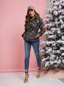 Camo-Print Belted Puffer Jacket - New York & Compa