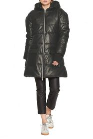 Walter Baker Rober Leather Zip Front Puffer Jacket