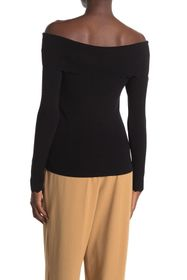 T Tahari Off-the-Shoulder Scallop Edge Shirt