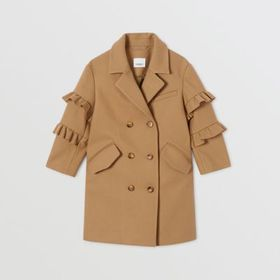 Burberry Ruffled Sleeve Wool Tailored Coat in Came