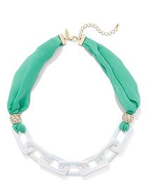 Fabric & Link Statement Necklace - New York & Comp