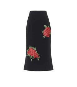 Dolce & Gabbana Embroidered crêpe pencil skirt