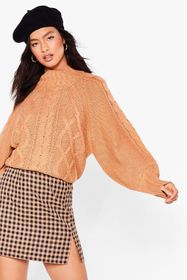 Nasty Gal Camel Cable to Love Balloon Sleeve Sweat