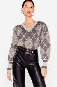 Nasty Gal Grey The Pressure is on Knitted V-Neck S