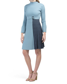 Long Sleeve Belted Sweater Dress