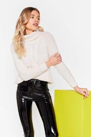 Nasty Gal Cream Knit On Our Watch Relaxed Turtlene