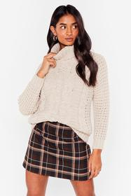 Nasty Gal Beige Knit On Our Watch Relaxed Turtlene