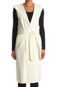 BCBGMAXAZRIA Belted Hooded Wool Blend Vest