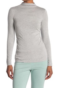 T Tahari Long Sleeve Mock Neck Top with Ruched Sid