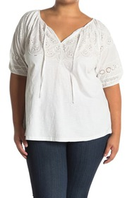 philosophy Eyelet Trim Poplin Blouse