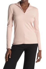 T Tahari Long Sleeve Mock Neck Ribbed Top
