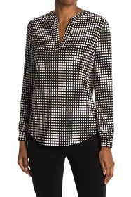 Anne Klein Pearly Dot Split Neck Top