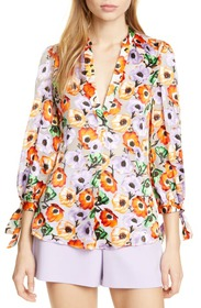 alice + olivia Sheila Floral Tie Sleeve Blouse