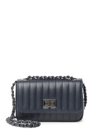 Markese Leather Quilted Woven Chain Crossbody Bag