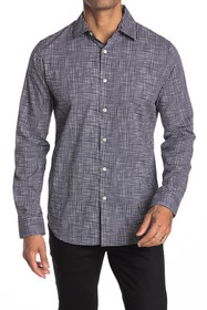 DKNY Hand Drawn Check Print Stretch Dress Shirt