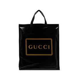 Gucci Gucci Logo Print Tote Bag in Black