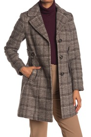 Gallery Plaid Button Front Coat