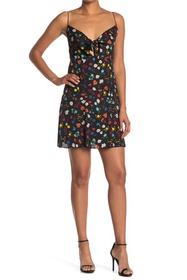 alice + olivia Roe Tie Front Floral Print Flare Dr