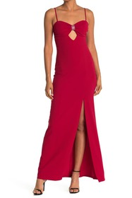 bebe Scuba Crepe Long Dress