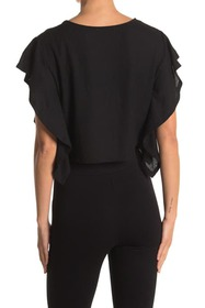 BCBGeneration Ruffle Sleeve Cropped Boxy Top
