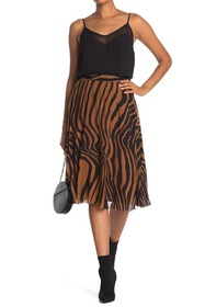 T Tahari Printed Pleated Chiffon Skirt