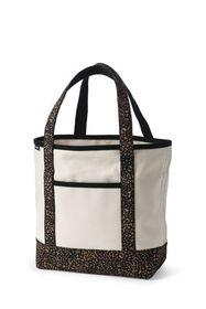 Lands End Natural with Printed Handle Canvas Tote