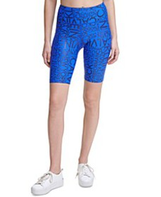 Metallic-Print High-Waist Bike Shorts