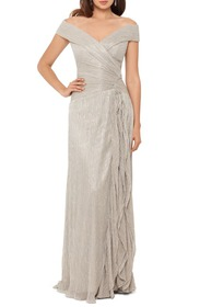 Xscape Metallic Plissé Off the Shoulder Gown