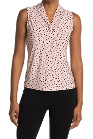 Anne Klein Ritz Dot Triple Pleated Top