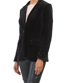 Velvet Jacket With Beaded Sleeve