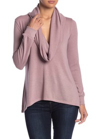 Go Couture Cowl Neck High/Low Tunic Sweater