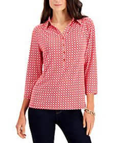 Printed Split-Neck Top, Created for Macy's