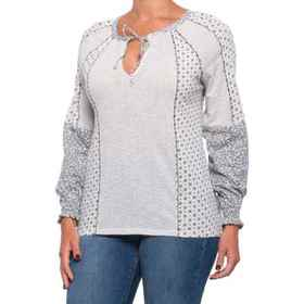 Lucky Brand Mix Print Peasant Top (For Women) in N