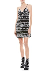 alice + olivia Embroidered Tie Front Flare Dress