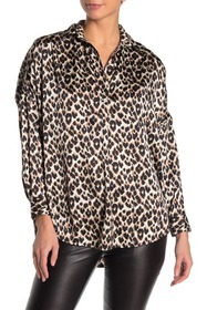 French Connection Rhodes Leopard Print Satin Top
