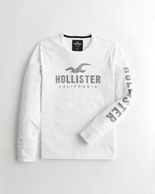 Hollister Embroidered Logo Graphic Tee, WHITE