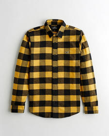 Hollister Plaid Flannel Shirt, YELLOW CHECK