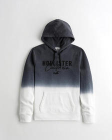 Hollister Ombré Applique Logo Hoodie, BLACK TO WHI