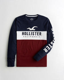 Hollister Colorblock Embroidered Logo Graphic Tee,