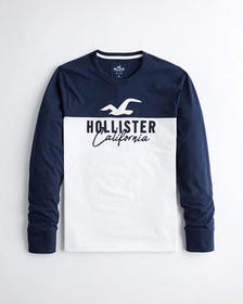 Hollister Colorblock Logo Graphic Tee, NAVY AND WH