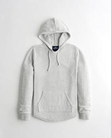 Hollister Curved Hem Hooded Sweater, HEATHER GREY