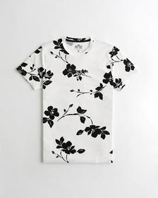 Hollister Floral Logo Graphic Tee, WHITE WITH BLAC