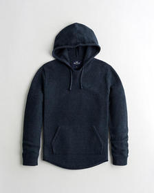 Hollister Curved Hem Hooded Sweater, HEATHER NAVY