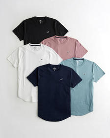 Hollister Must-Have Curved Hem T-Shirt 5-Pack, BLA