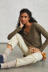 Anthropologie Mira Cropped Henley Top