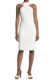 bebe Mock Neck Strappy Crepe Dress