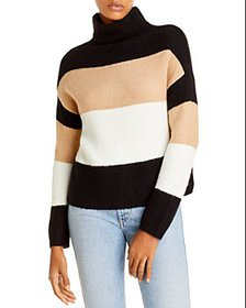 AQUA - Color Blocked Stripe Turtleneck Sweater