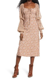 Free People Aglow Smocked Long Sleeve Midi Dress