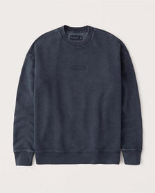 Relaxed Washed Crew Sweatshirt, HEATHER NAVY BLUE